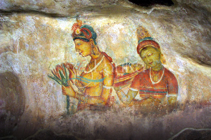 Arte murale a Sigiriya, un'antica fortezza rocciosa