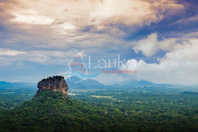 panorama Sunrise view to Sigiriya rock - Lion Rock - from Pidurangala Rock